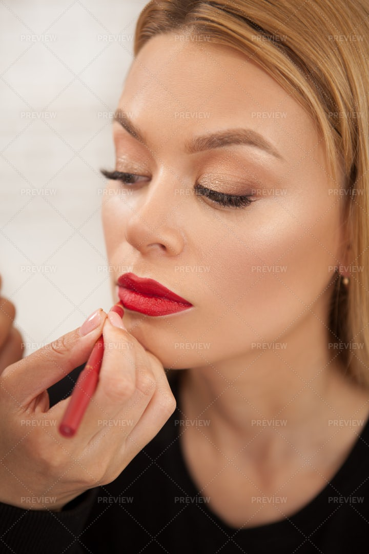 Woman With Red Lipstick: Stock Photos