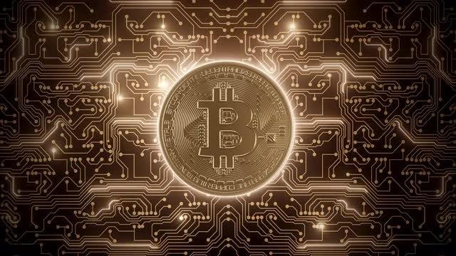 Bitcoin Powers Circuits: Stock Motion Graphics