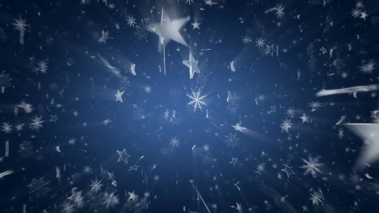 Snowflakes And Stars On Blue: Motion Graphics