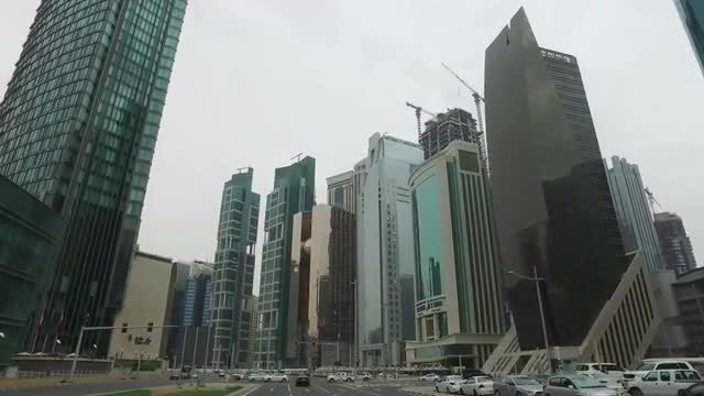Doha, West Bay Driving: Stock Video