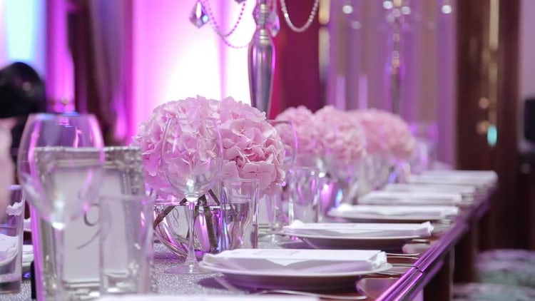 Styled Party Table With Pink Flowers  : Stock Video