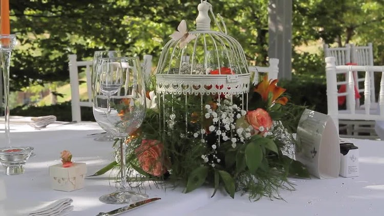 Outdoor Wedding Table Decoration: Stock Video