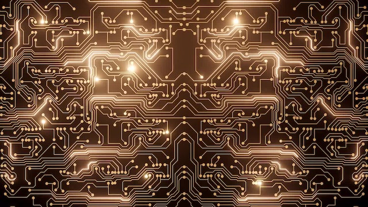 Powered Circuit - Gold: Stock Motion Graphics