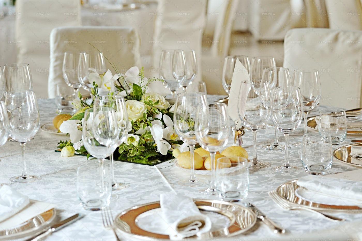 Table Set For A Wedding: Stock Photos
