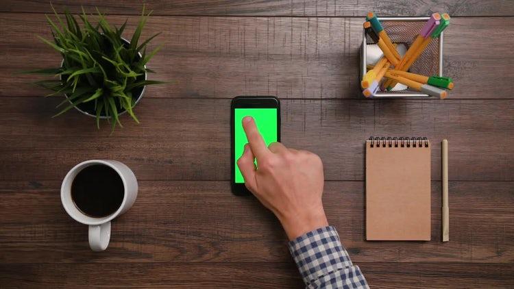 Iphone Green Screen Top Click: Stock Video
