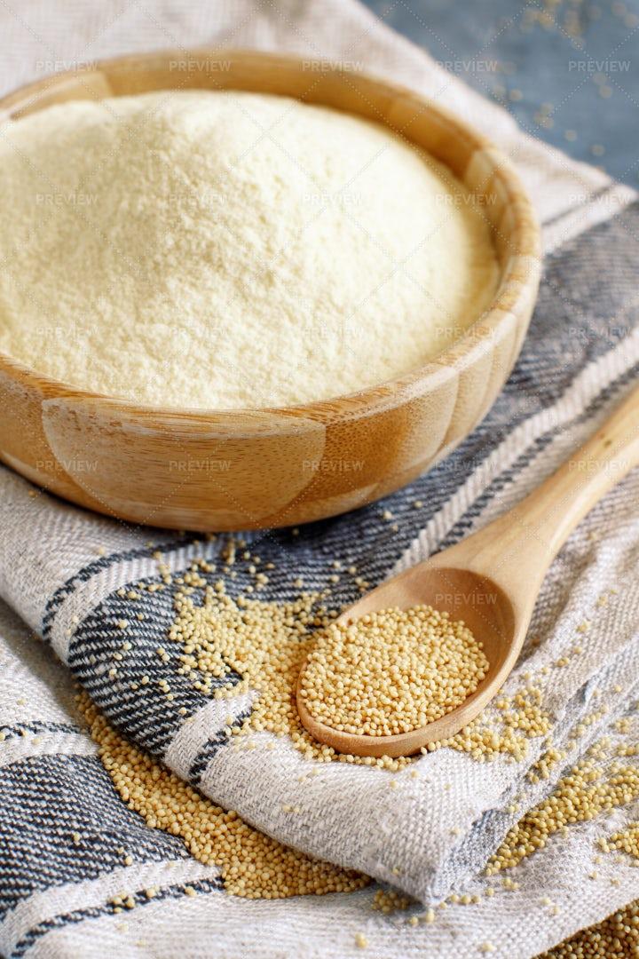Amaranth Flour With A Spoon: Stock Photos
