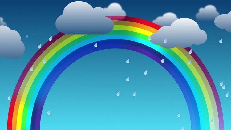 Rain & Rainbow Cartoon Background: Stock Motion Graphics