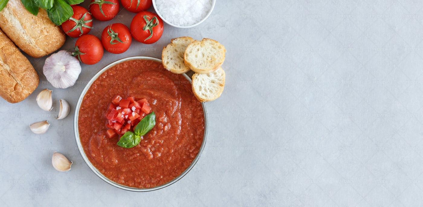 Bowl Of Fresh Gazpacho: Stock Photos