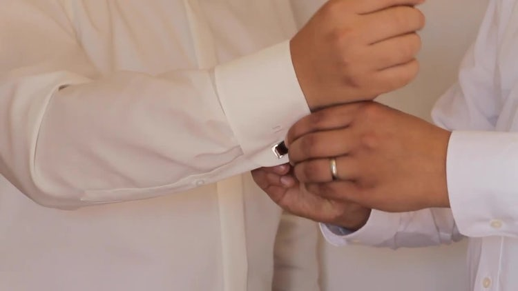 Groom Getting Ready Cuff Links: Stock Video