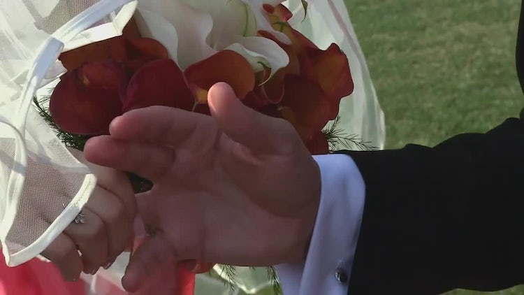 Bride Puts Ring on Groom: Stock Video