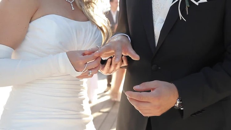 Gloved Bride Puts Ring: Stock Video