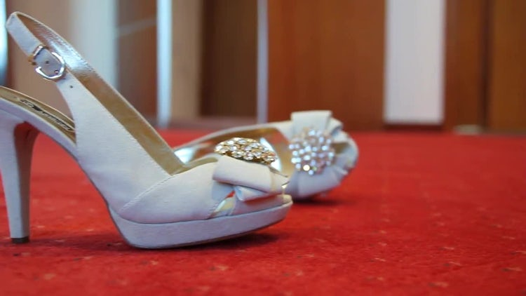 Bride's Wedding Shoes On Carpet: Stock Video