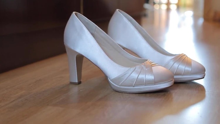 Bridal Closed Toe Wedding Shoes: Stock Video
