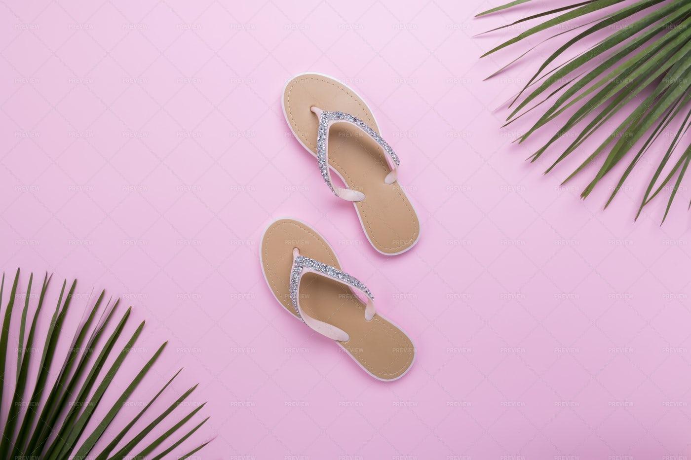 Beach Flip-Flops Against Pink: Stock Photos