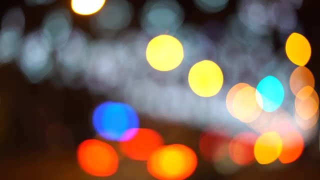 Bokeh Lights Cars And City: Stock Video