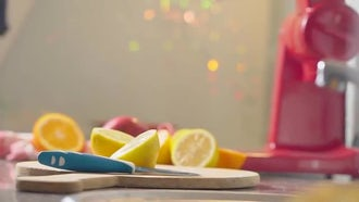 Cutting Lemon On Chopping Board: Stock Video