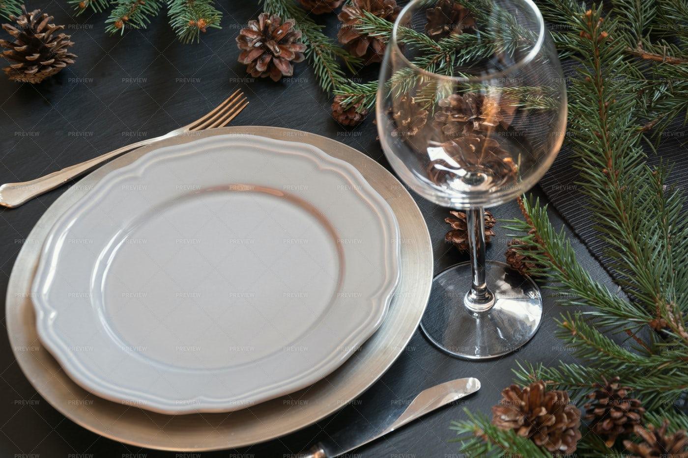 Christmas Table Setting: Stock Photos