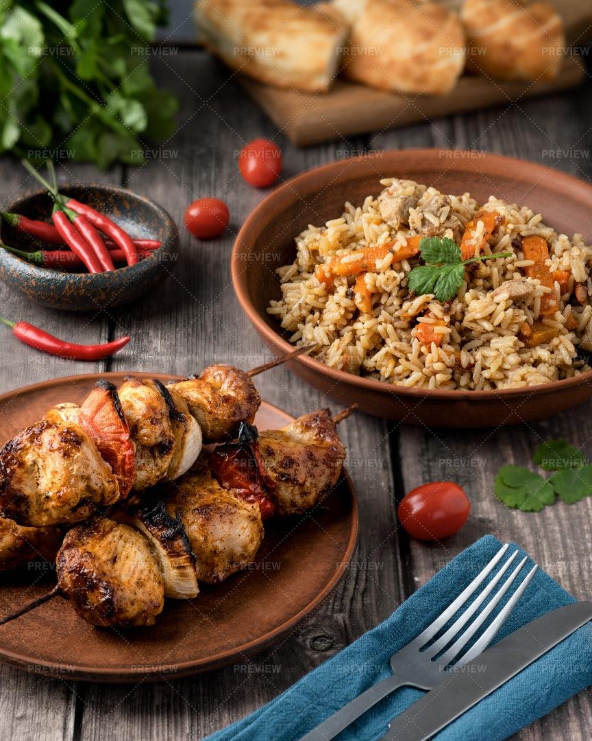 Pilaf And Kebab: Stock Photos