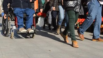 Man On Wheelchair : Stock Video