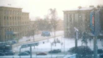 Snowfall In City: Stock Video