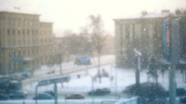 Snowfall In City: Stock Video