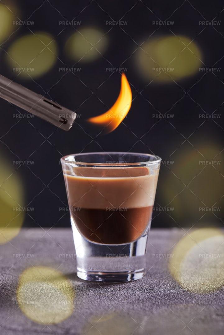 Igniting Creamy Cocktail: Stock Photos