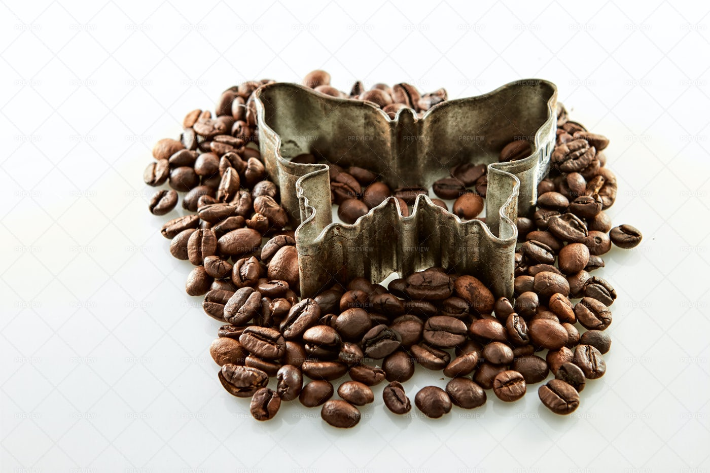 Coffee Beans Around Butterfly Shape: Stock Photos