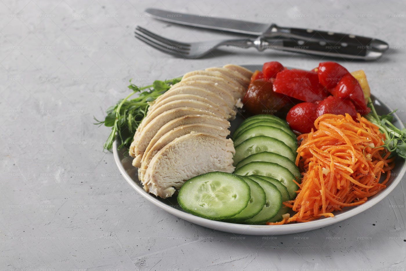Buddha Bowl With Baked Chicken: Stock Photos