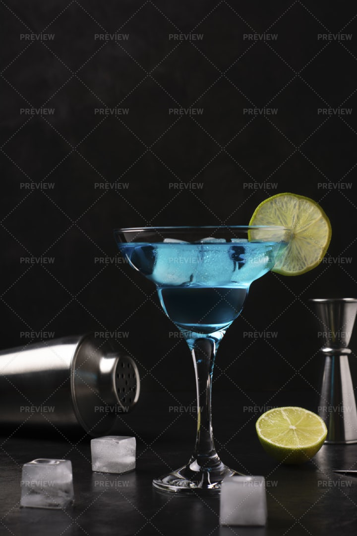 Blue Alcoholic Cocktail: Stock Photos