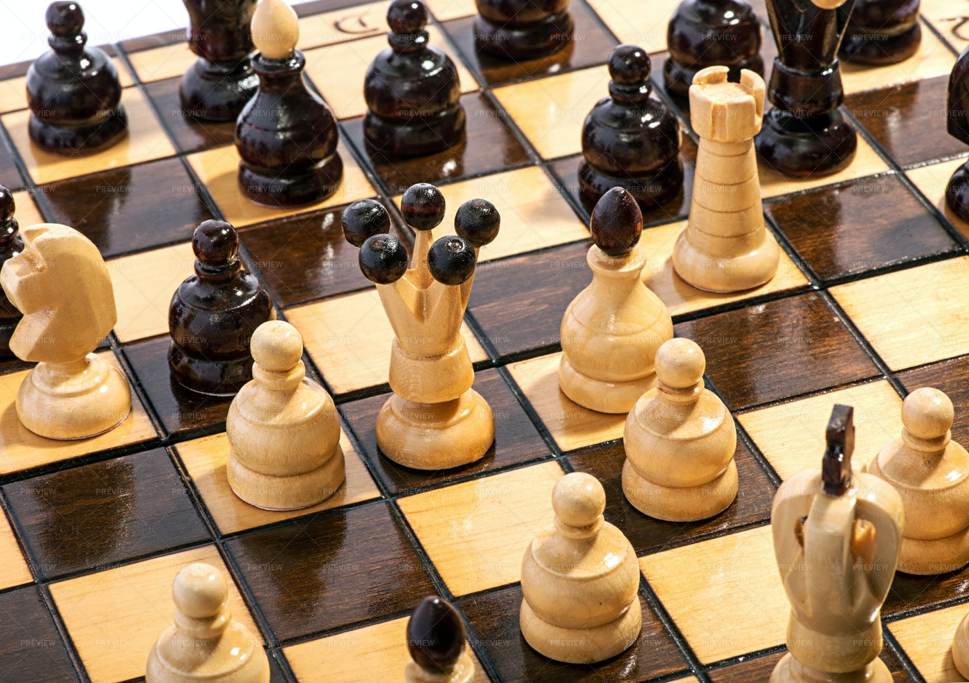 Chess Pieces On Board: Stock Photos