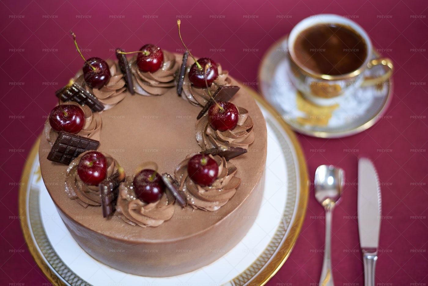 Cake And Coffee.: Stock Photos