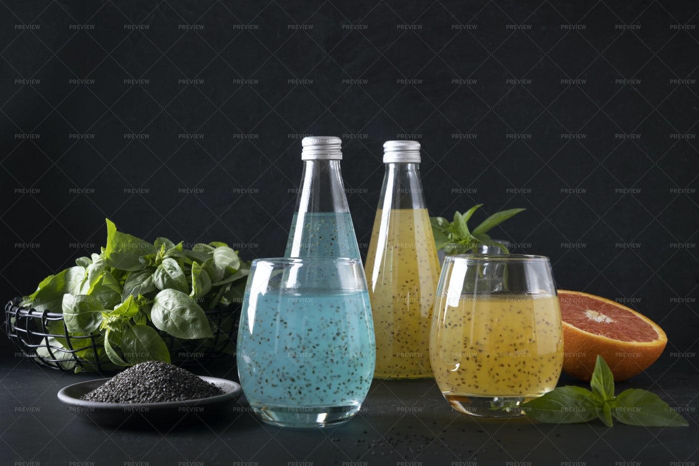 Drink With Basil Seeds: Stock Photos