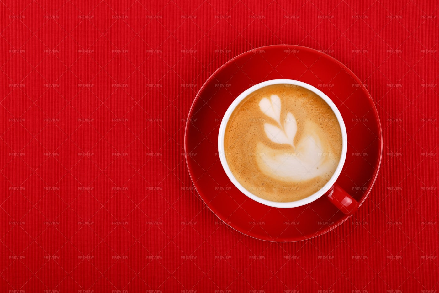 Cappuccino In Red Cup: Stock Photos