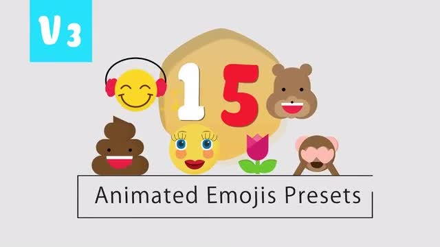 15 Animated Flat Emoji Presets V3: After Effects Templates