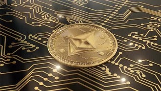 Gold Cryptocurrency Ethereum In Circuits: Motion Graphics