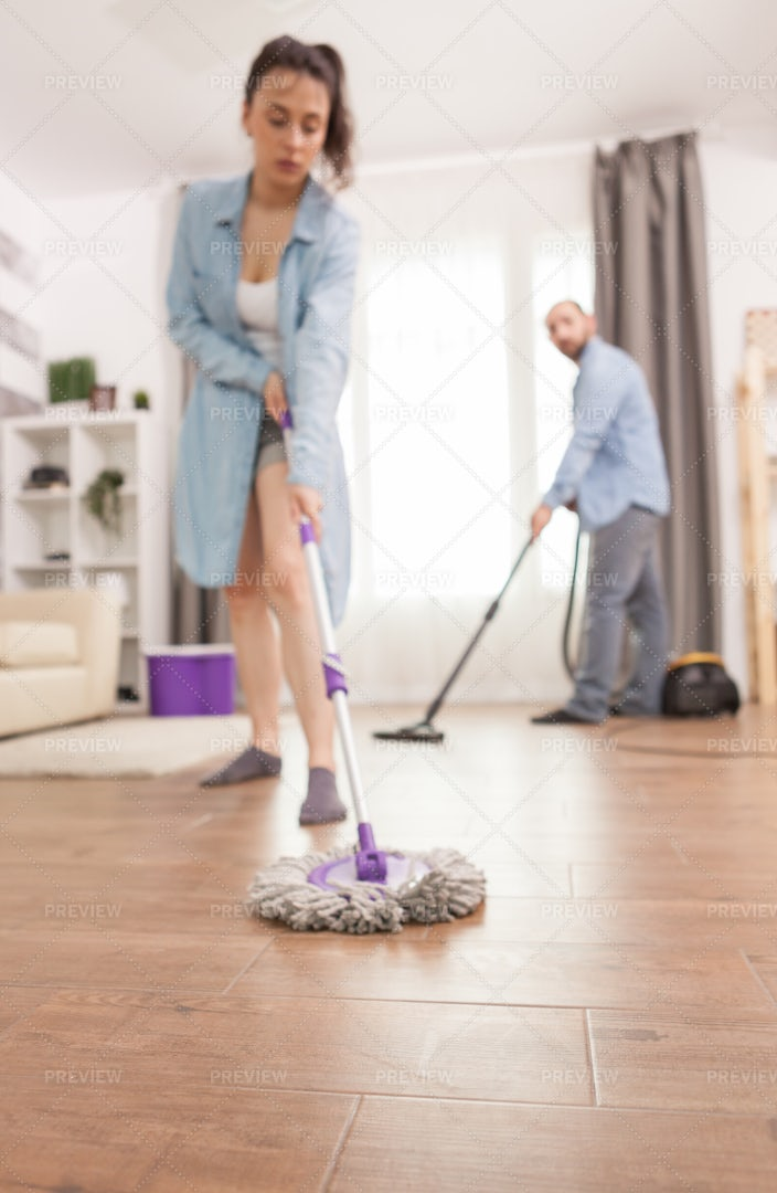 Cleaning  The Floor: Stock Photos