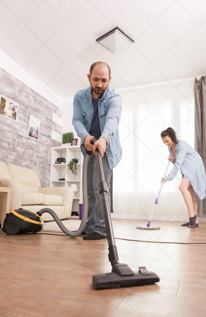 Vacuuming The House: Stock Photos