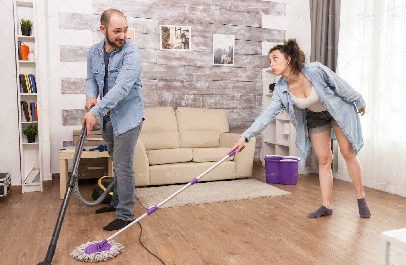 Cleaning Together: Stock Photos