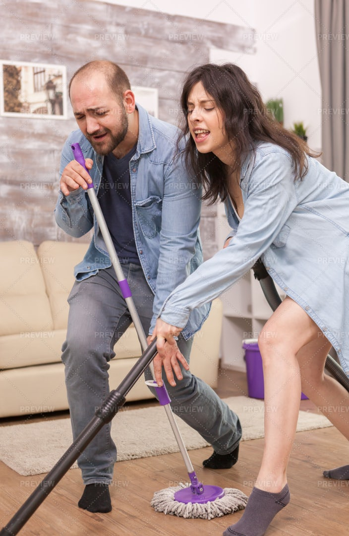 Cleaning And Having Fun: Stock Photos