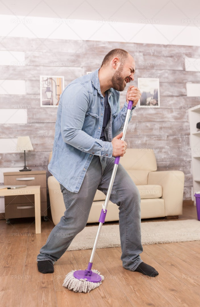 Singing While Cleaning: Stock Photos