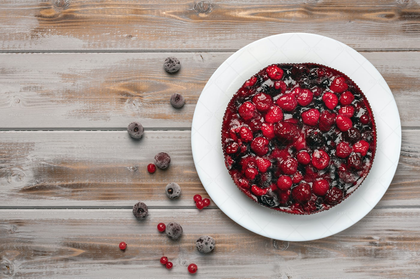 Pie With Berries Top View: Stock Photos