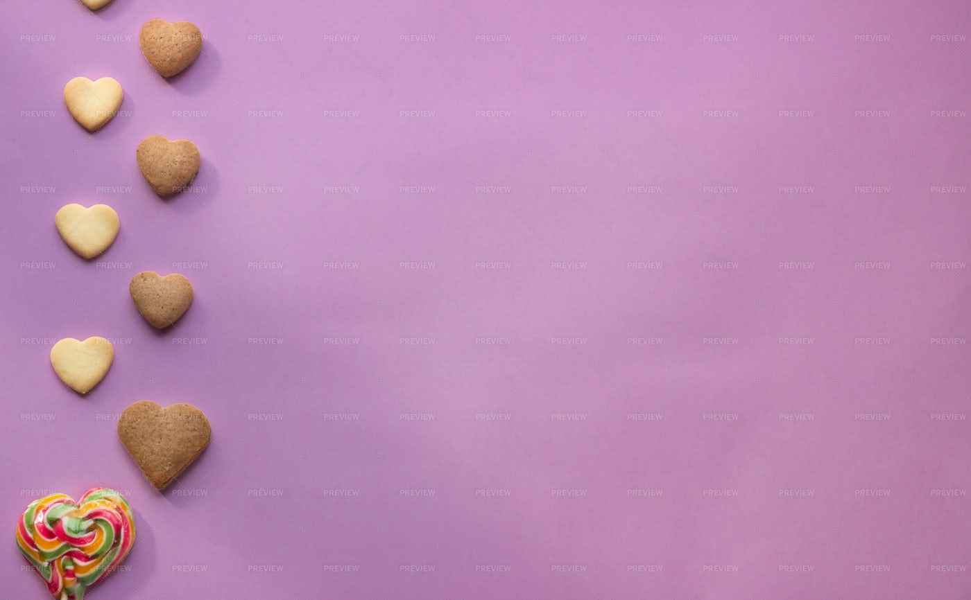 Heart Cookies On Pink Paper: Stock Photos