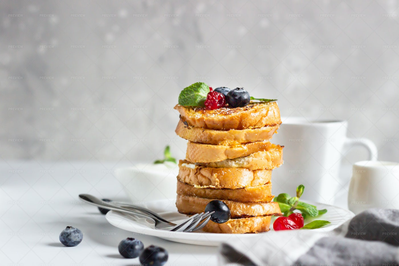 Toasts With Berries: Stock Photos
