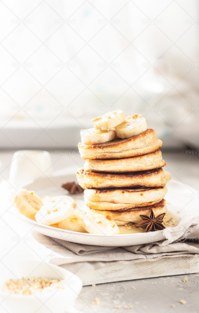 Perfect Breakfast With Pancakes: Stock Photos