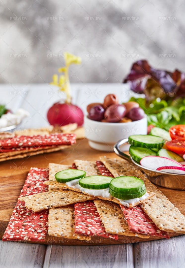 Beetroot And Rye Crackers: Stock Photos