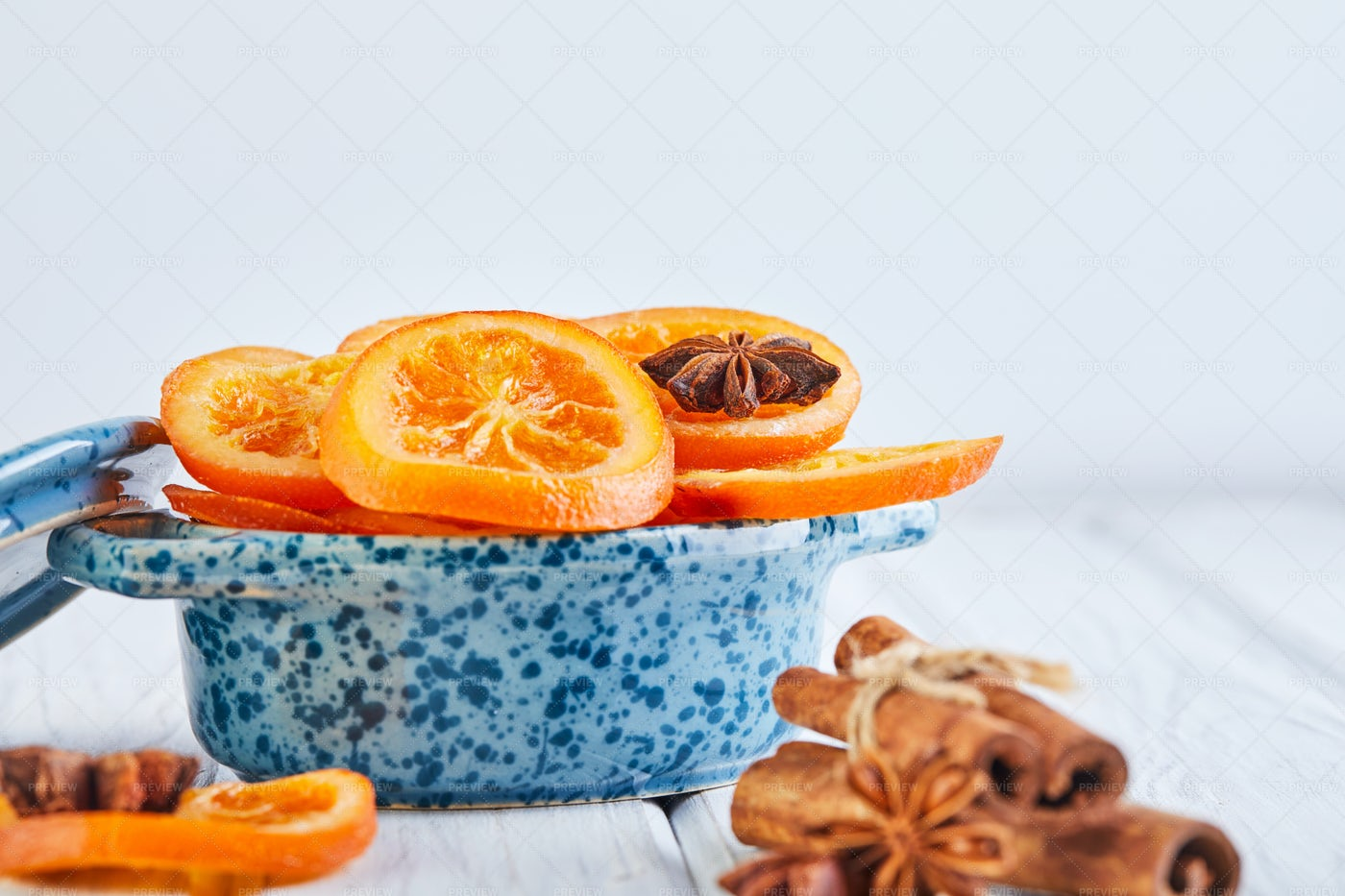 A Bowl Of Dried Oranges: Stock Photos