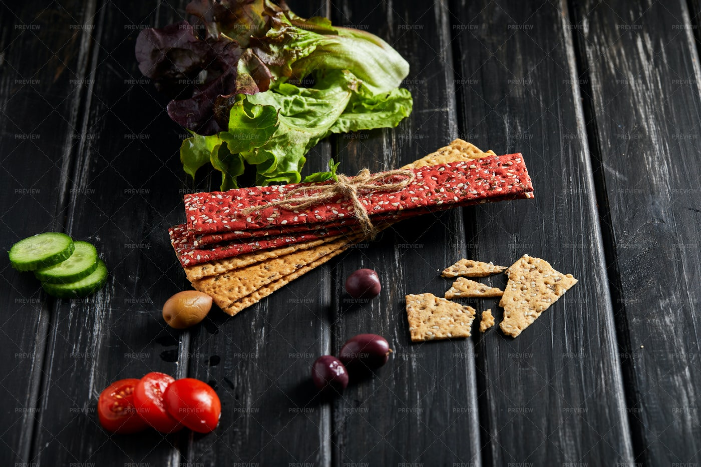 Stack Of Crackers With Veg: Stock Photos