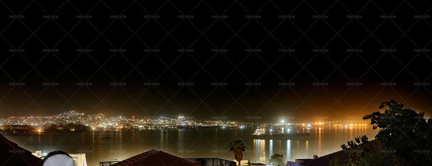 Beach Night Panorama: Stock Photos