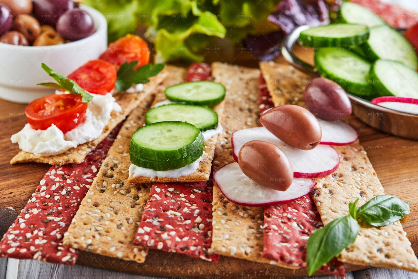 Crackers And Vegetables: Stock Photos