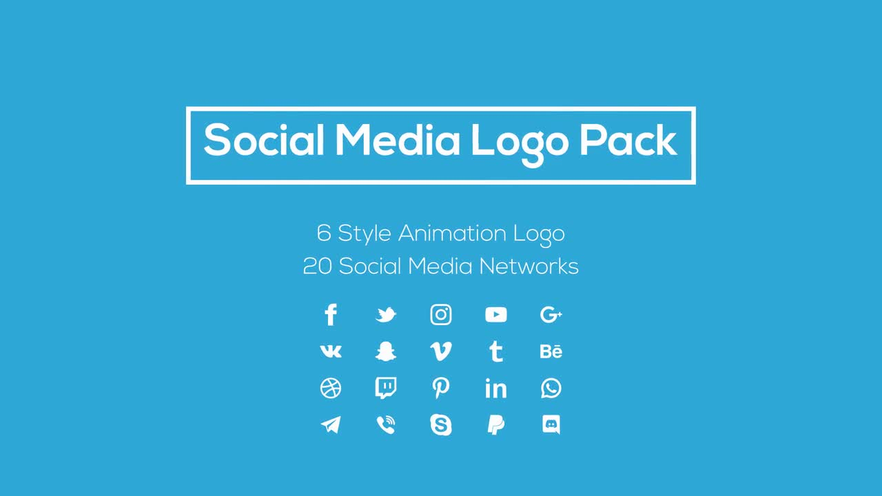 social media logo pack motion graphics templates motion array. Black Bedroom Furniture Sets. Home Design Ideas